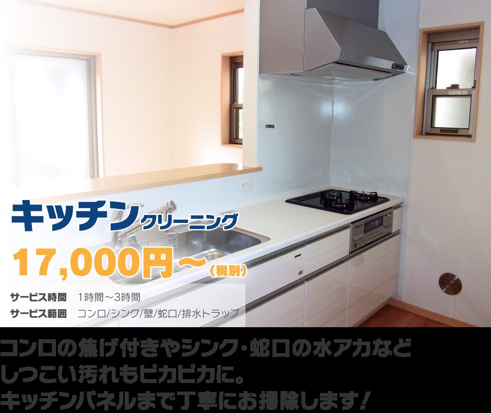 キッチンクリーニング17,000円〜(税別) コンロの焦げ付きやシンク・蛇口の水アカなどしつこい汚れもピカピカに。キッチンパネルまで丁寧にお掃除します!